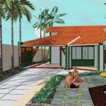 Plano de casa de vacaciones con piscina