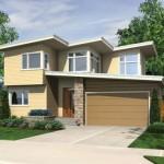 Plano de casa moderna de madera y piedra con dos pisos