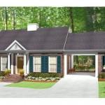 Plano de casa con 1 dormitorio y garage abierto
